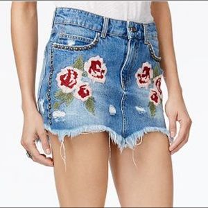 Free People Wild Rose embroidered denim mini skirt